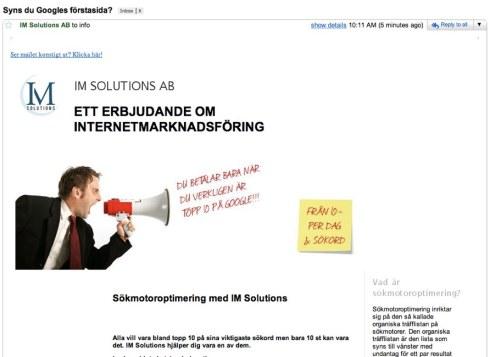 Spam om sökmotoroptimering från IM Solutions
