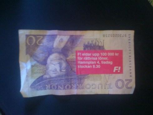 flygblad för Fi och 100 000 kr i Almedalen