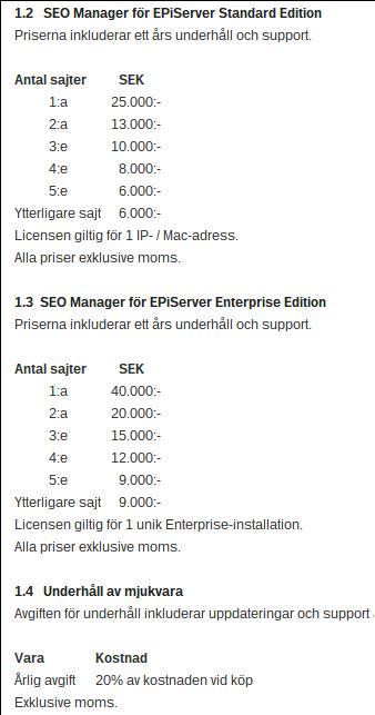Prislista - SEO Manager för EPiServer