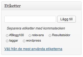 Taggar kallas Etiketter i WordPress