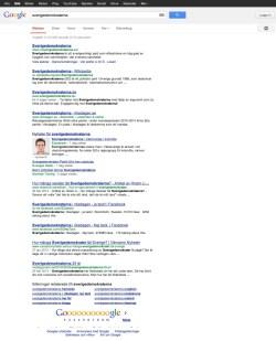 Det ena distinkta sökresultatet för Sverigedemokraterna - Klicka för större bild
