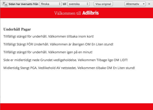Google översätter Adlibris 503-sida till svenska.
