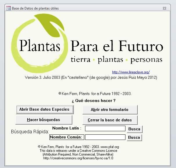 Base de datos Plantas para el Futuro
