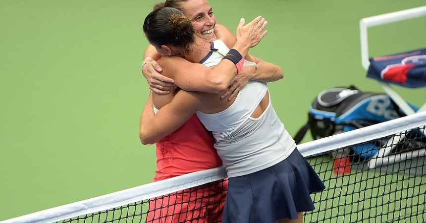 September 12, 2015 - Roberta Vinci embraces Flavia Pennetta after a women's singles final match during the 2015 US Open at the USTA Billie Jean King National Tennis Center in Flushing, NY. (USTA/Pete Staples)