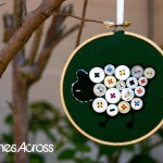 Button Sheep Embroidery Hoop Ornament {Christmas Ornament #1)