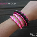 Neon and Wood Floating Bead Bracelet