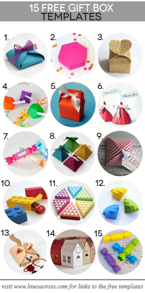 A collection of 15 free printable gift box templates.