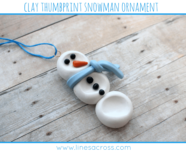 Clay Thumbprint Snowman Ornament