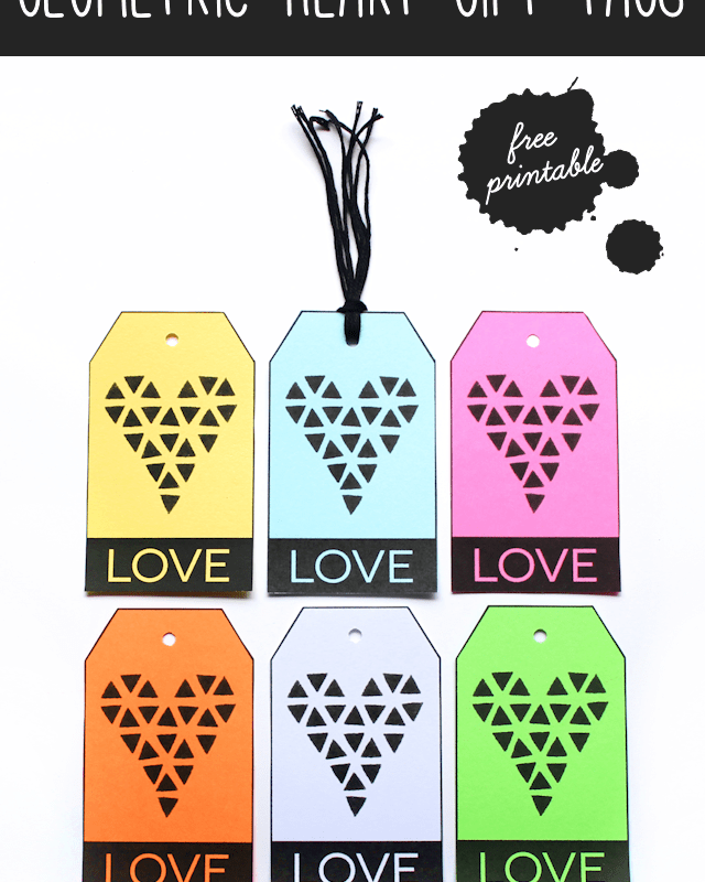 Geometric Heart Gift Tags (Free Printable)