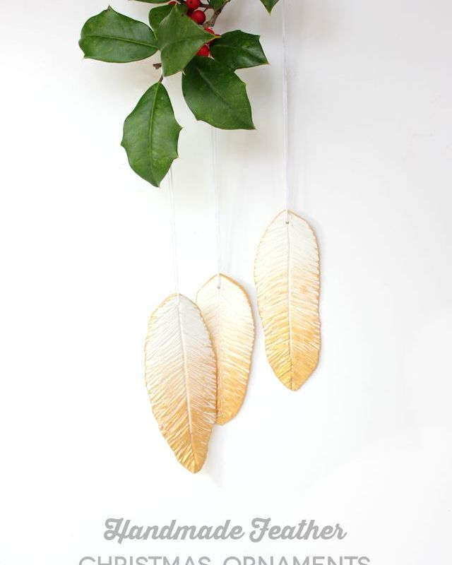 Gilded Feather Polymer Clay Ornaments