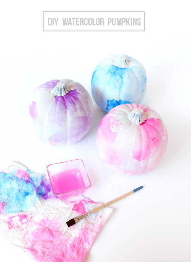 DIY watercolor pumpkins @linesacross