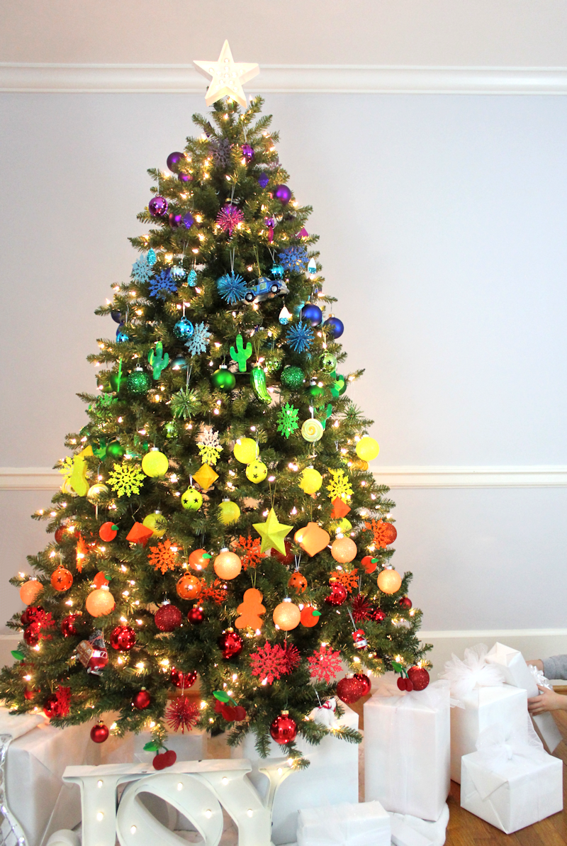 rainbow christmas tree - Colorful Christmas Tree Decorations