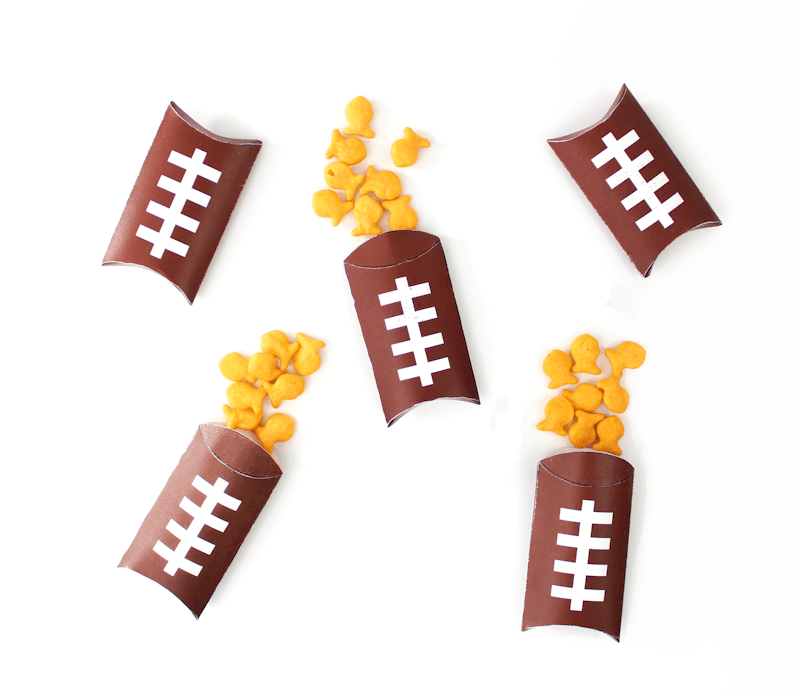Free Printable Football Pillow Boxes filled with Goldfish 2