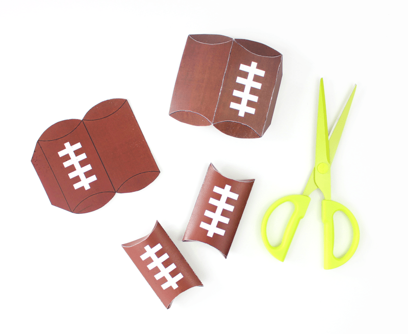 Free Printable Football Pillow Boxes filled with Goldfish