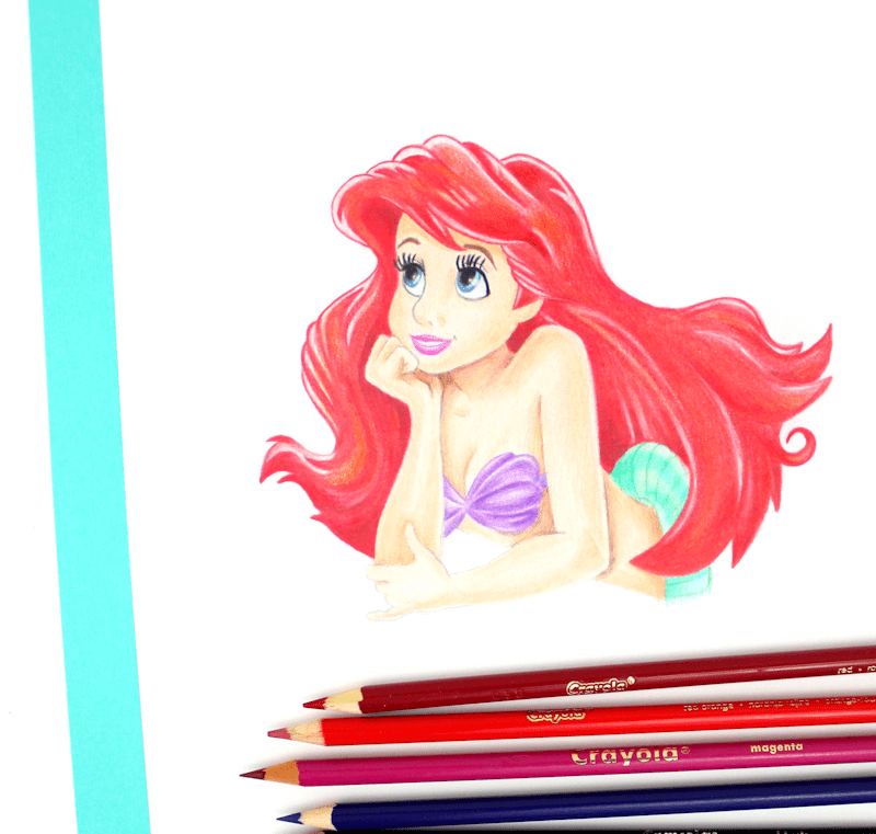 Ariel - Little Mermaid Crayola Colored Pencil Drawing