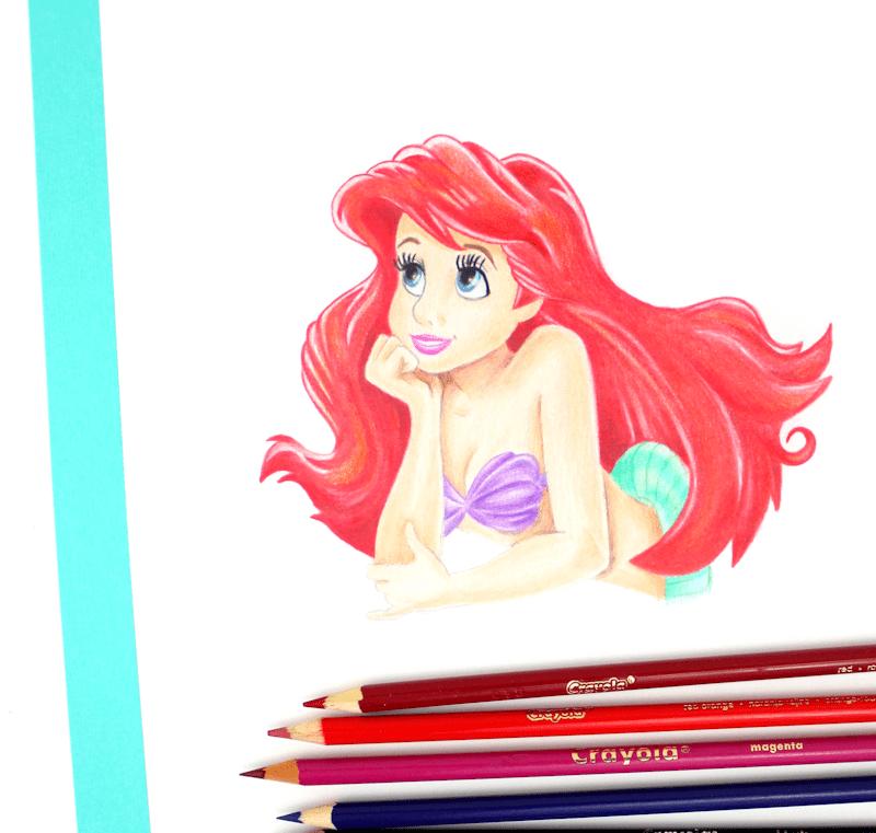 Ariel - Little Mermaid Crayola Colored Pencil Drawing