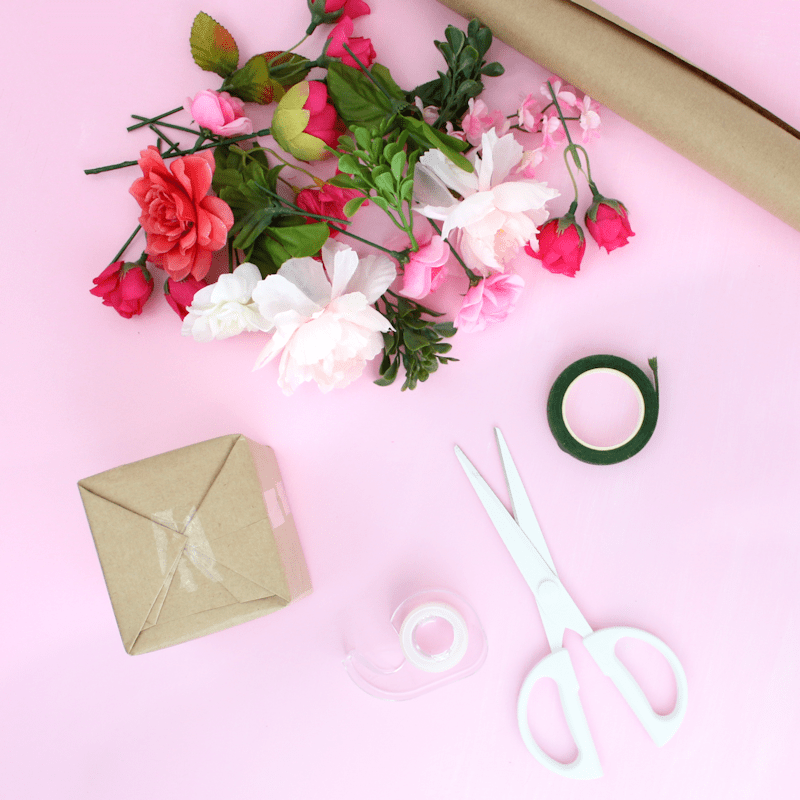 Faux Flowers DIY Gift Toppers - Mother's Day gift wrap idea 3