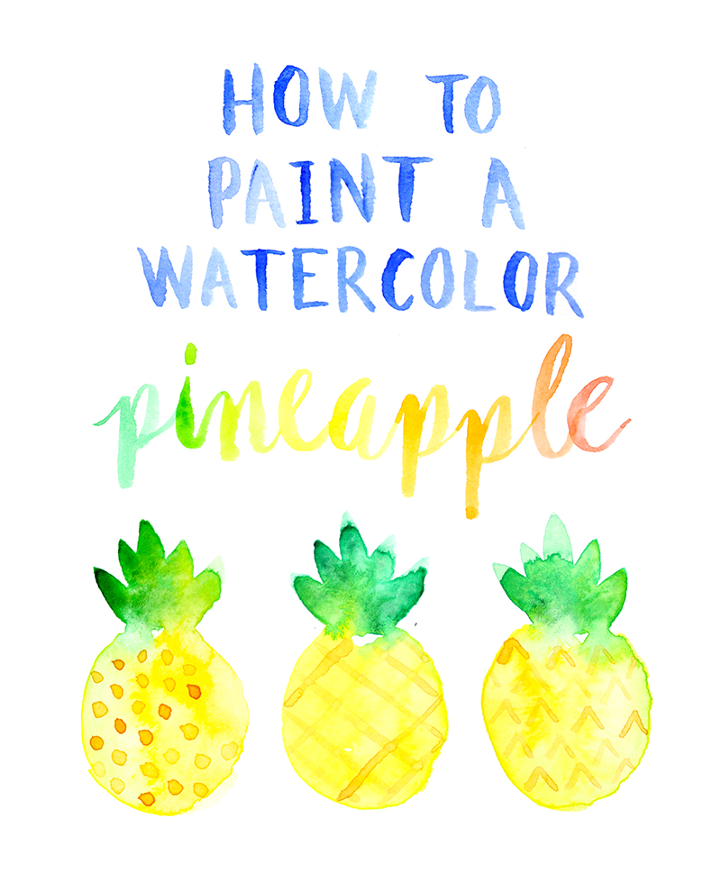 How to paint a watercolor pineapple by Lines Across
