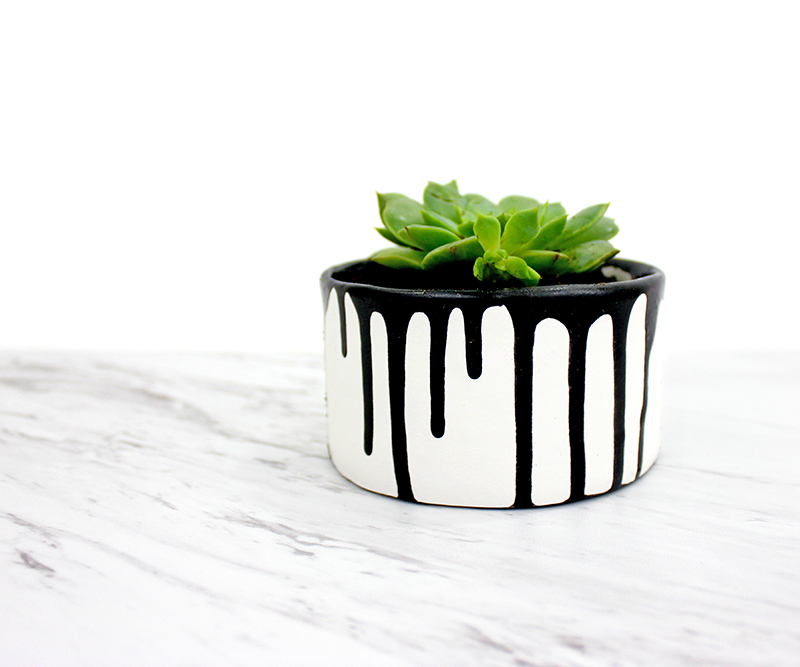 black paint drip planter