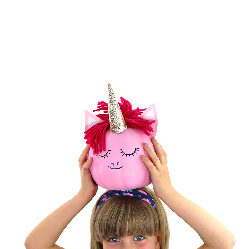 How to make a pink unicorn pumpkin by @linesacross