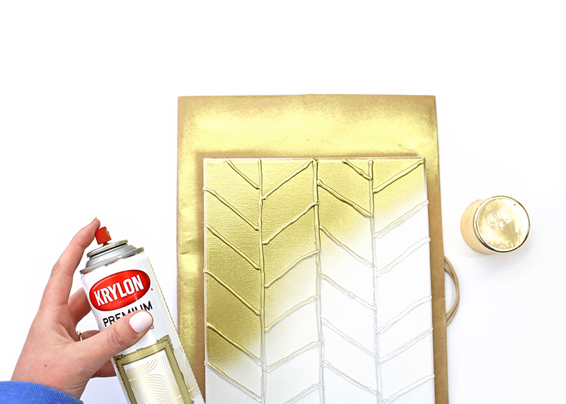 DIY Gold Textured Canvas - Step 4 - Spray Paint in gold