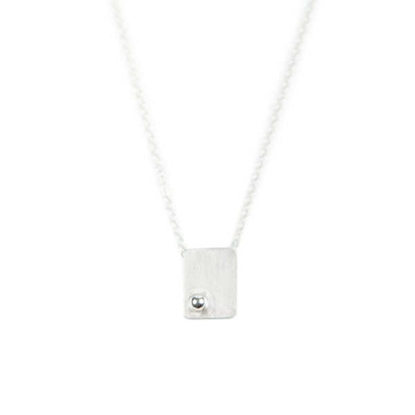 Handmade sterling silver rectangle necklace