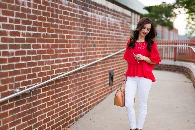 red peplum blouse