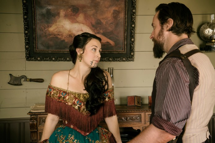 """Robin McLeavy as Eva Toole and Phil Burke as Mickey McGinnes - Hell on Wheels _ Season 5, Episode 4 , """"Struck"""""""