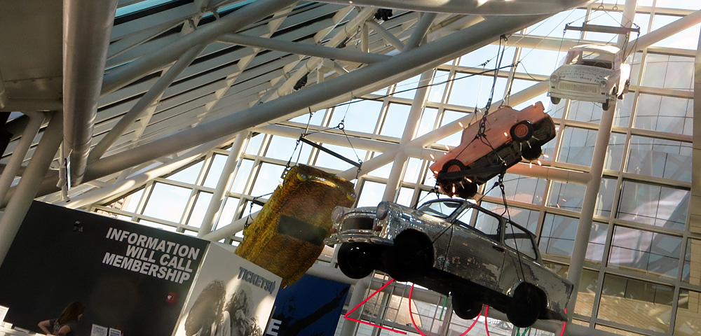cars suspended in air at Rock and Roll Hall of Fame Museum