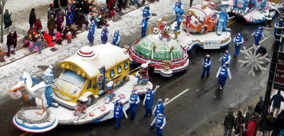 Path to confidence with a school bus and cartoon characters in 2013 America's Thanksgiving Day parade
