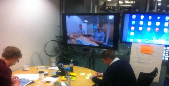 usability testing room with two TV monitors for viewing participants