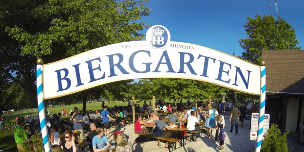 Visitors to the Estabrook Beer Garden's grand opening on June 20 enjoyed free beer after the opening ceremonies. The beer garden will open at noon each day this summer, weather permitting. Last call is 9 p.m.