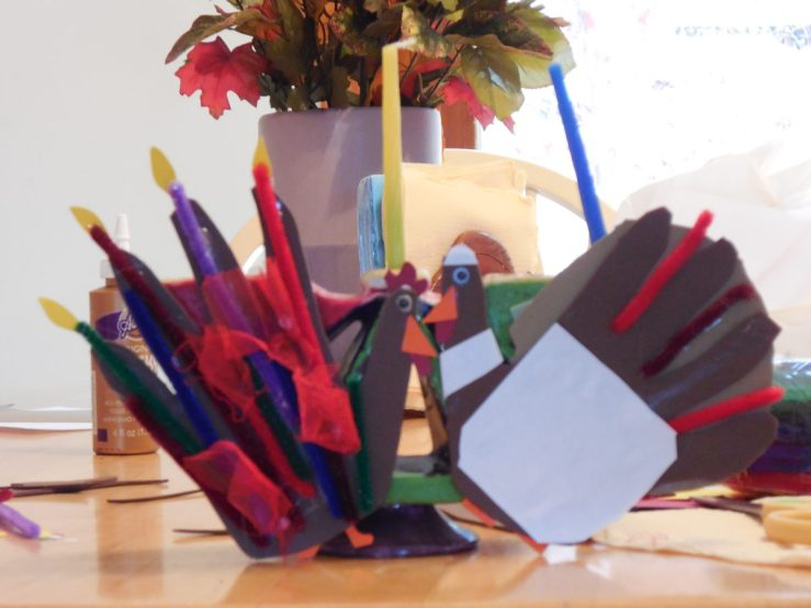 Menorah decorated with turkey. I can't wait to light the candles.