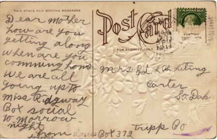 1911 Easter postcard, back