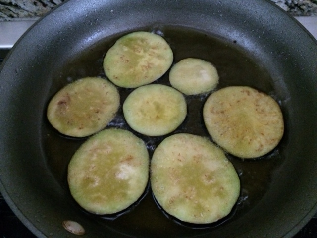 frying eggplants