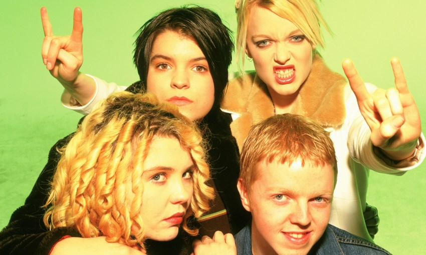 Mandatory Credit: Photo By Stephen Sweet / Rex Features Kenickie - Lauren Laverne, Mary Du Santiago, Emmy-Kate Montrose and Johnny X Kenickie - 1997POSED