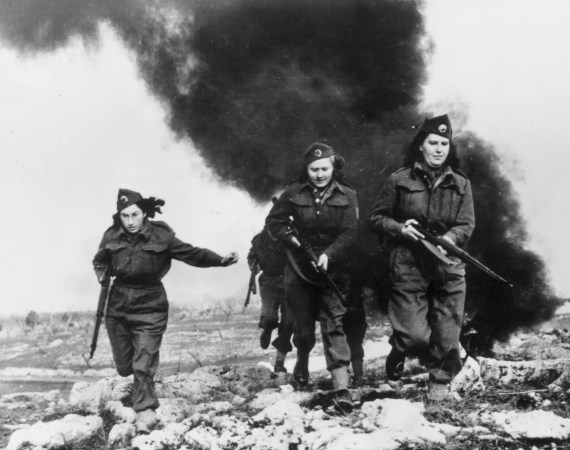 Yugoslav fighters, members of the patriot forces, during training at an Allied camp in Italy on Feb. 29, 1944.