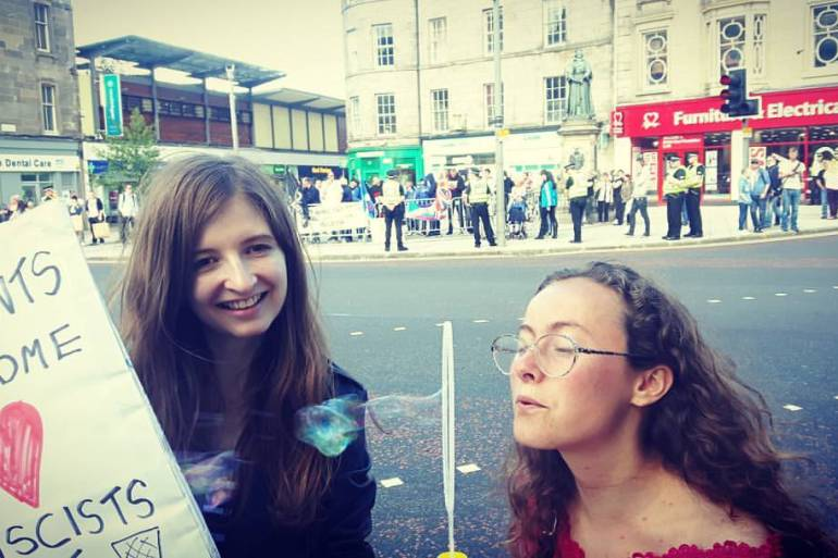 Rowan and I at the protest in Edinburgh, Summer 2016