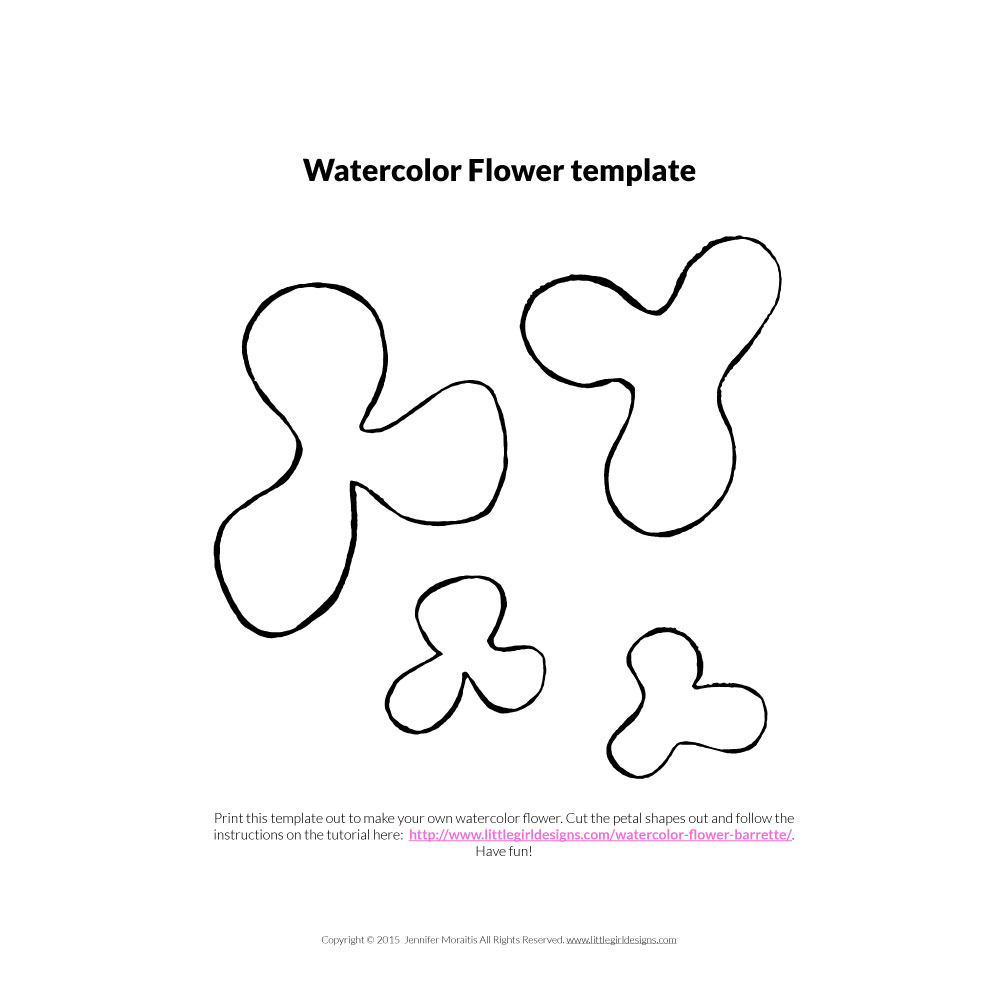 Watercolor Flower template from littlegirldesigns.com