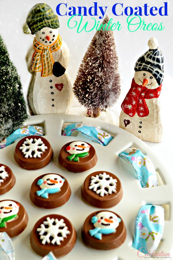 Candy Coated Winter Oreos - snowmen faces and snowflakes will add cute and tasty holiday charm to any cookie tray! At littlemisscelebration.com
