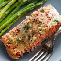 Garlic Butter Baked Salmon In Foil