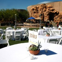 Springs Preserve Ampitheatre reception set up, with rock wall in the background