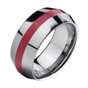 Red Resin Inlay Men's Wedding Ring | 28 Unique Wedding Rings for Men