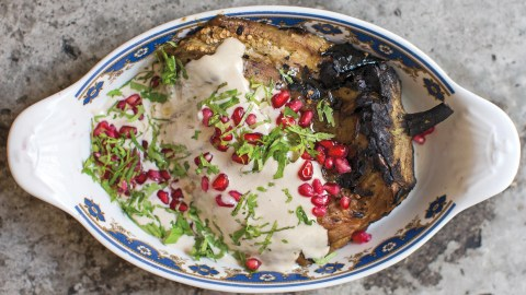 burned eggplant with tahini