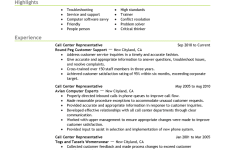 call center representative customer service resume example emphasis 2 expanded