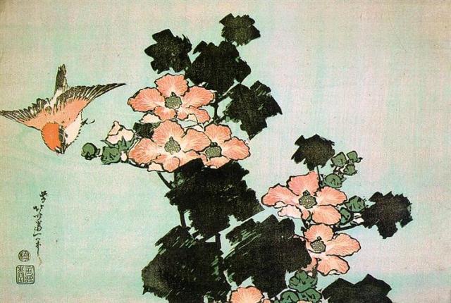 'Hibiscus and Sparrow' Hokusai