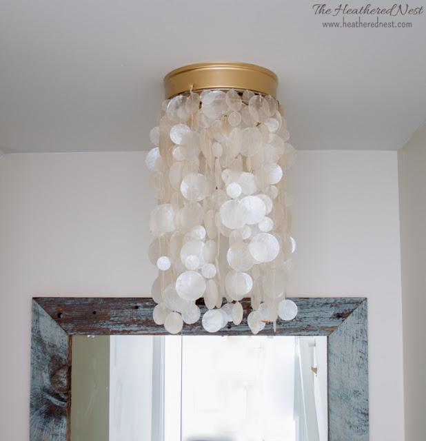 heathered nest capiz shell light fixture. Black Bedroom Furniture Sets. Home Design Ideas