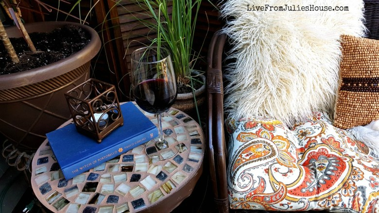 Mosaic Table - Find out how I made an easy mosaic table for my deck using a broken down thrift store table I found for just $3.99.
