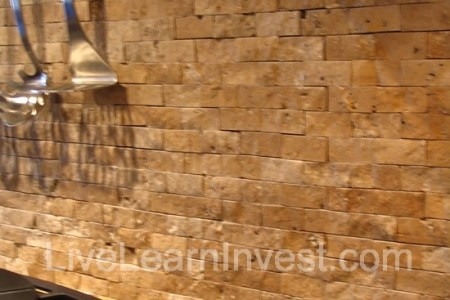 kitchen bricklike tile backsplash closeup