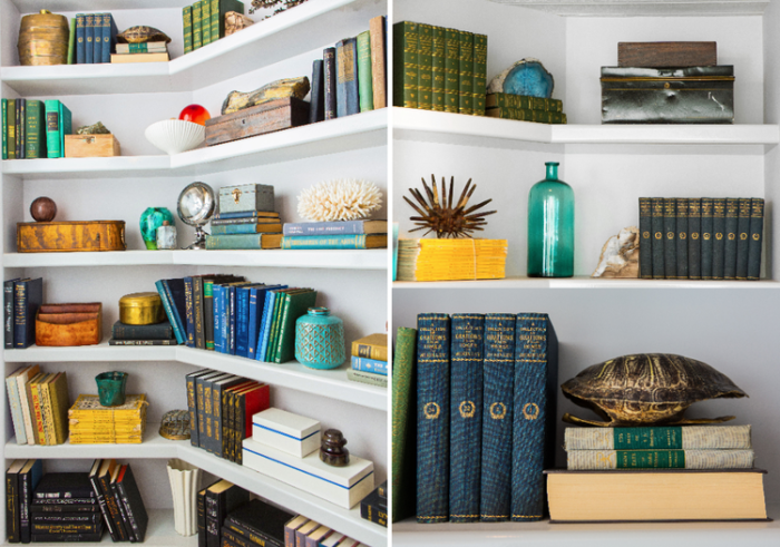 Perfectly styled shelves with a coastal/masculine feel by Ryan White Designs